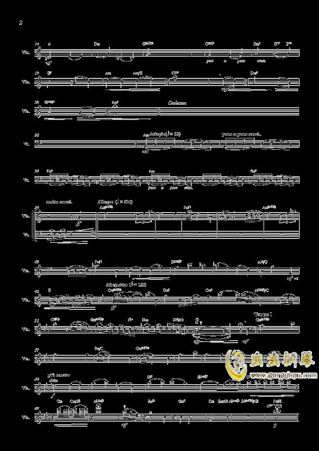 孤帆钢琴谱 第2页