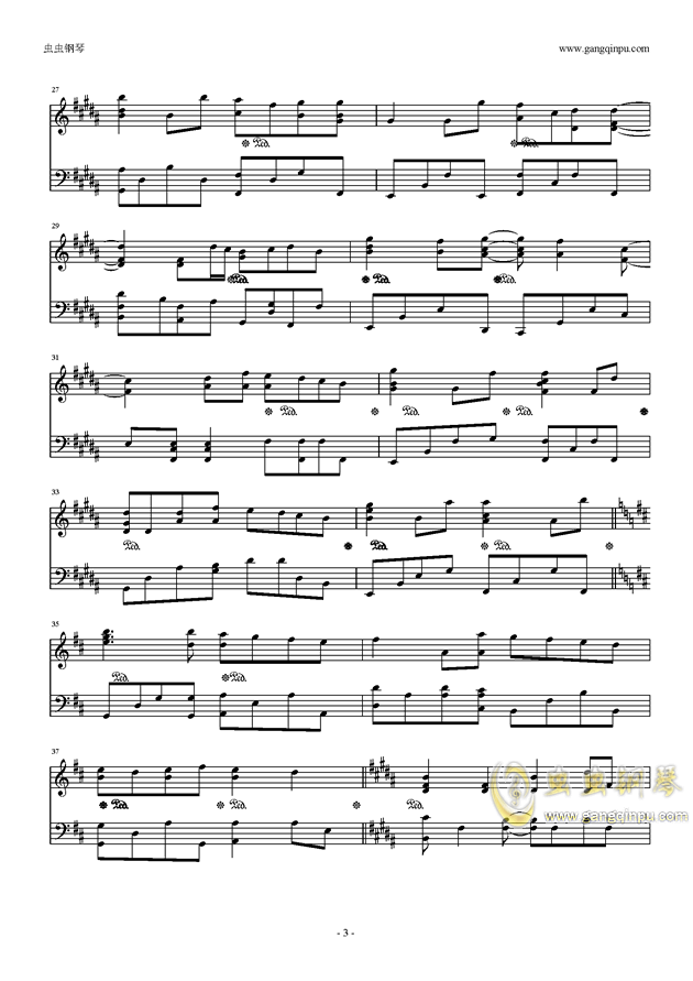 G大调的悲伤钢琴谱 第3页