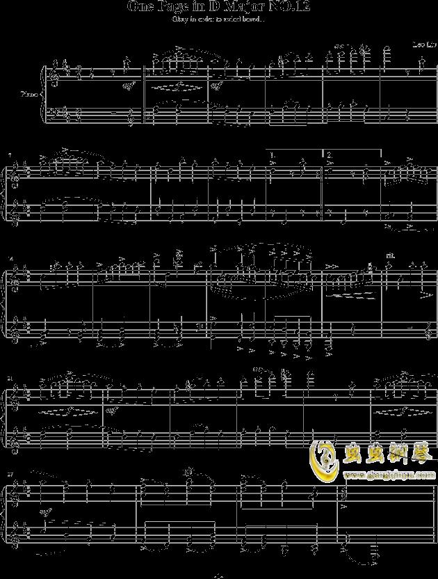 一页曲 NO.12钢琴谱 第1页