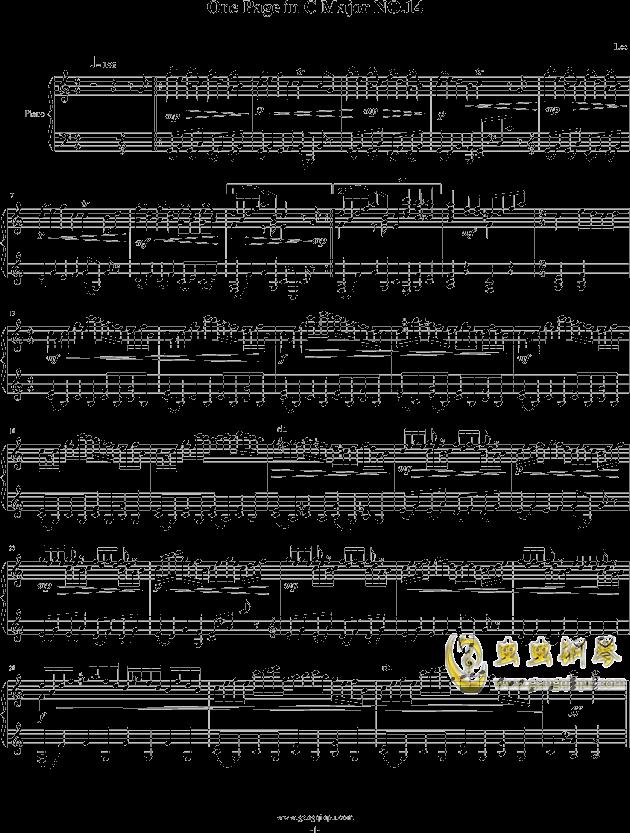 一页曲14钢琴谱 第1页
