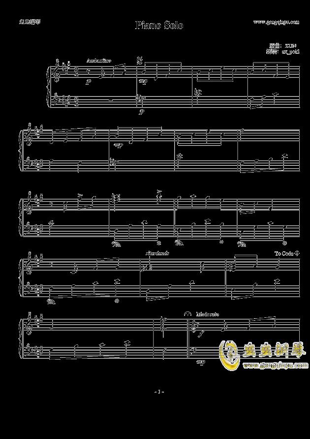 Piano Solo钢琴谱 第1页