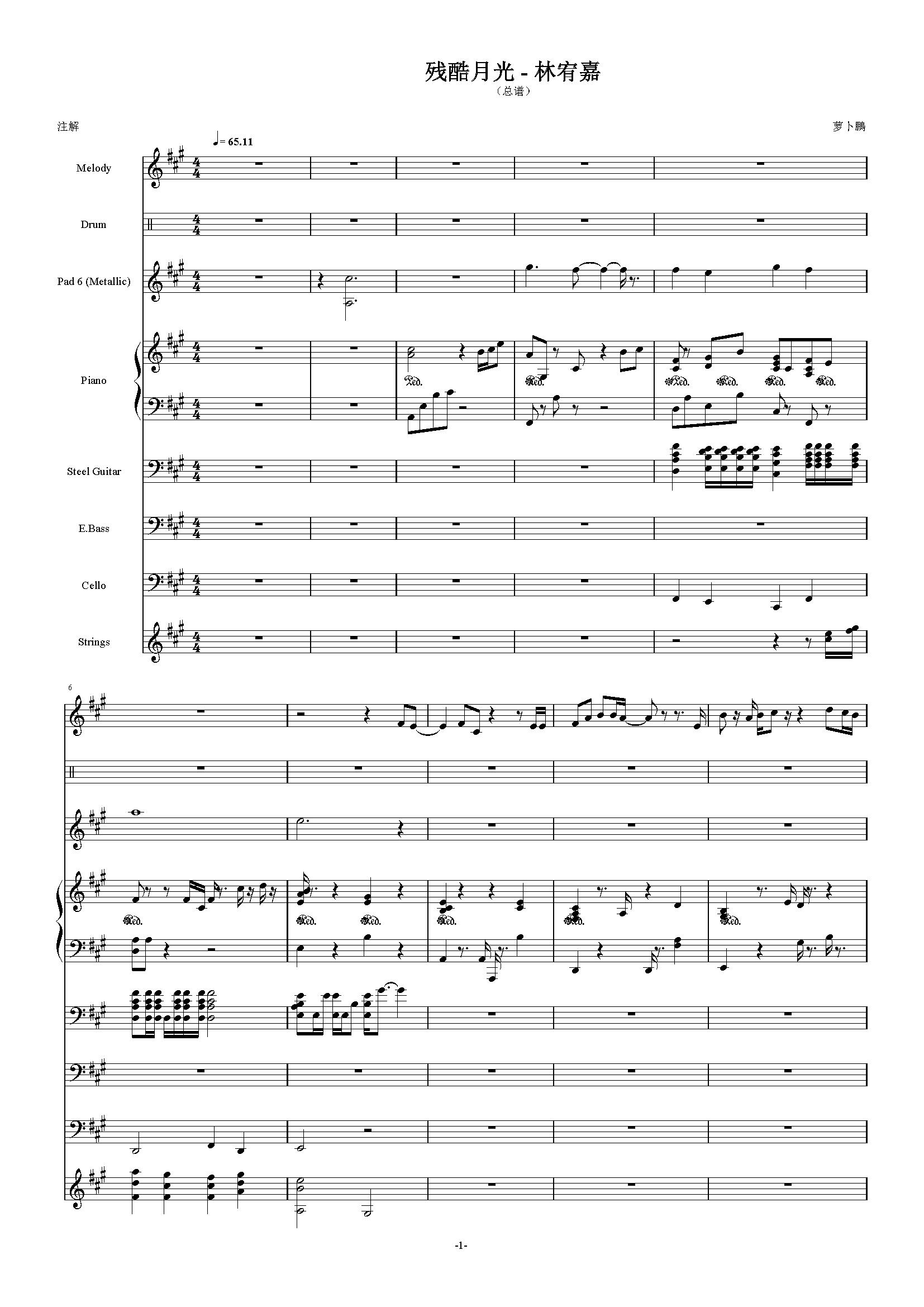 残酷月光钢琴谱 第1页