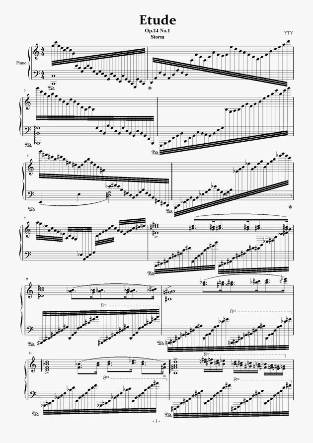 练习曲 压缩版钢琴谱 第1页