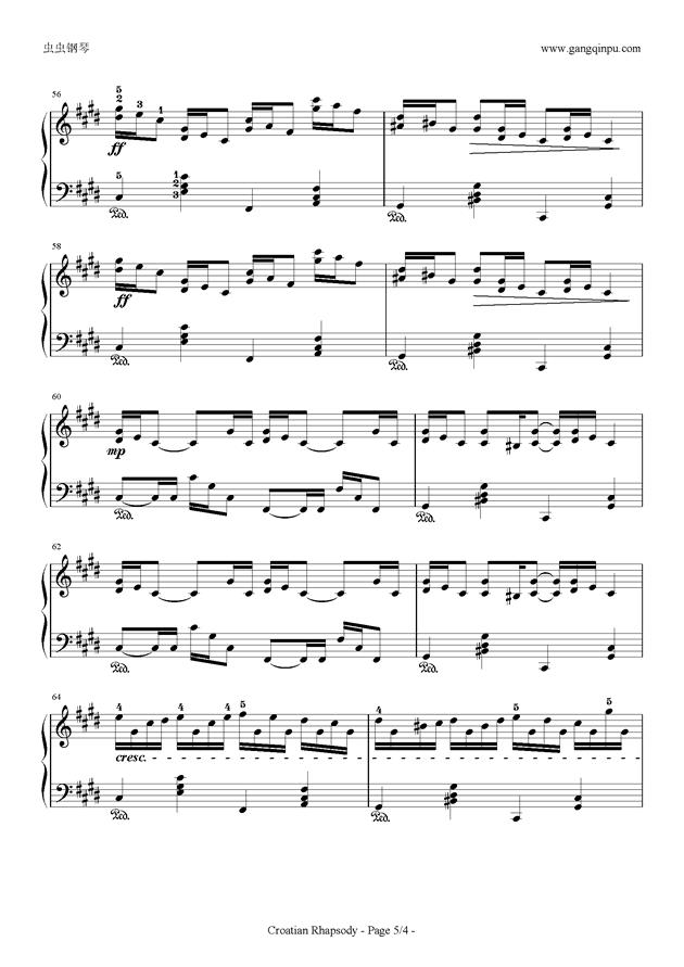 克罗地亚狂想曲钢琴谱 第5页