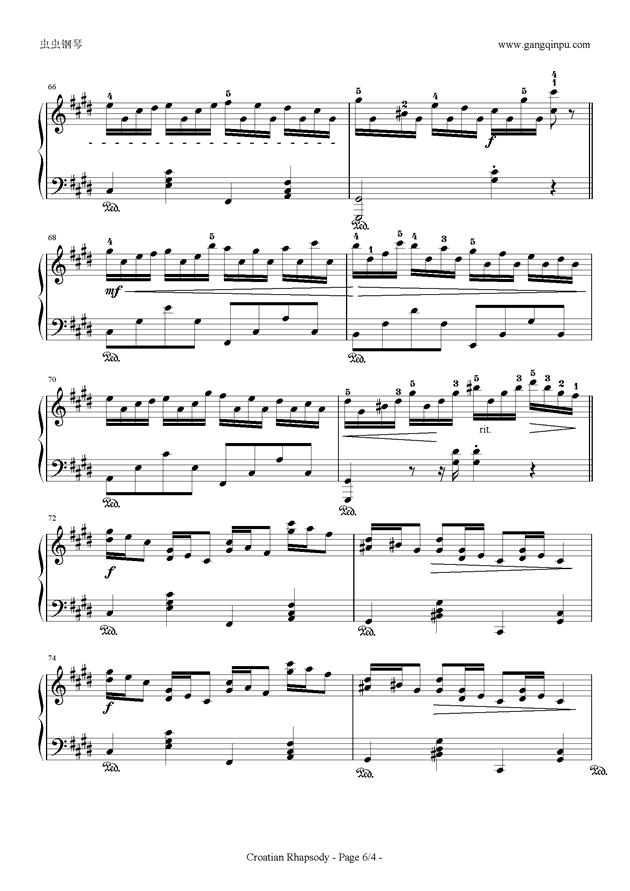克罗地亚狂想曲钢琴谱 第6页