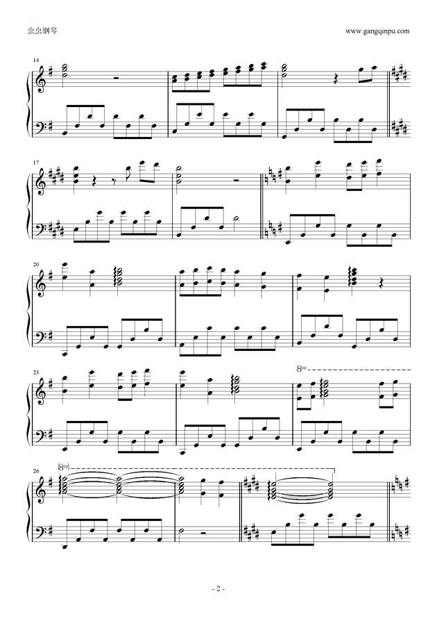 worry of cherry钢琴谱 第2页