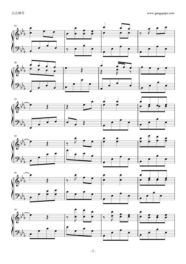流行的云钢琴谱 第2页