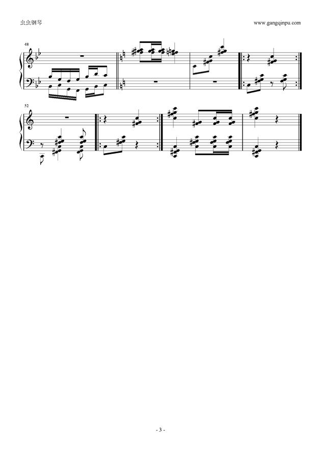 秧歌调钢琴谱 第3页