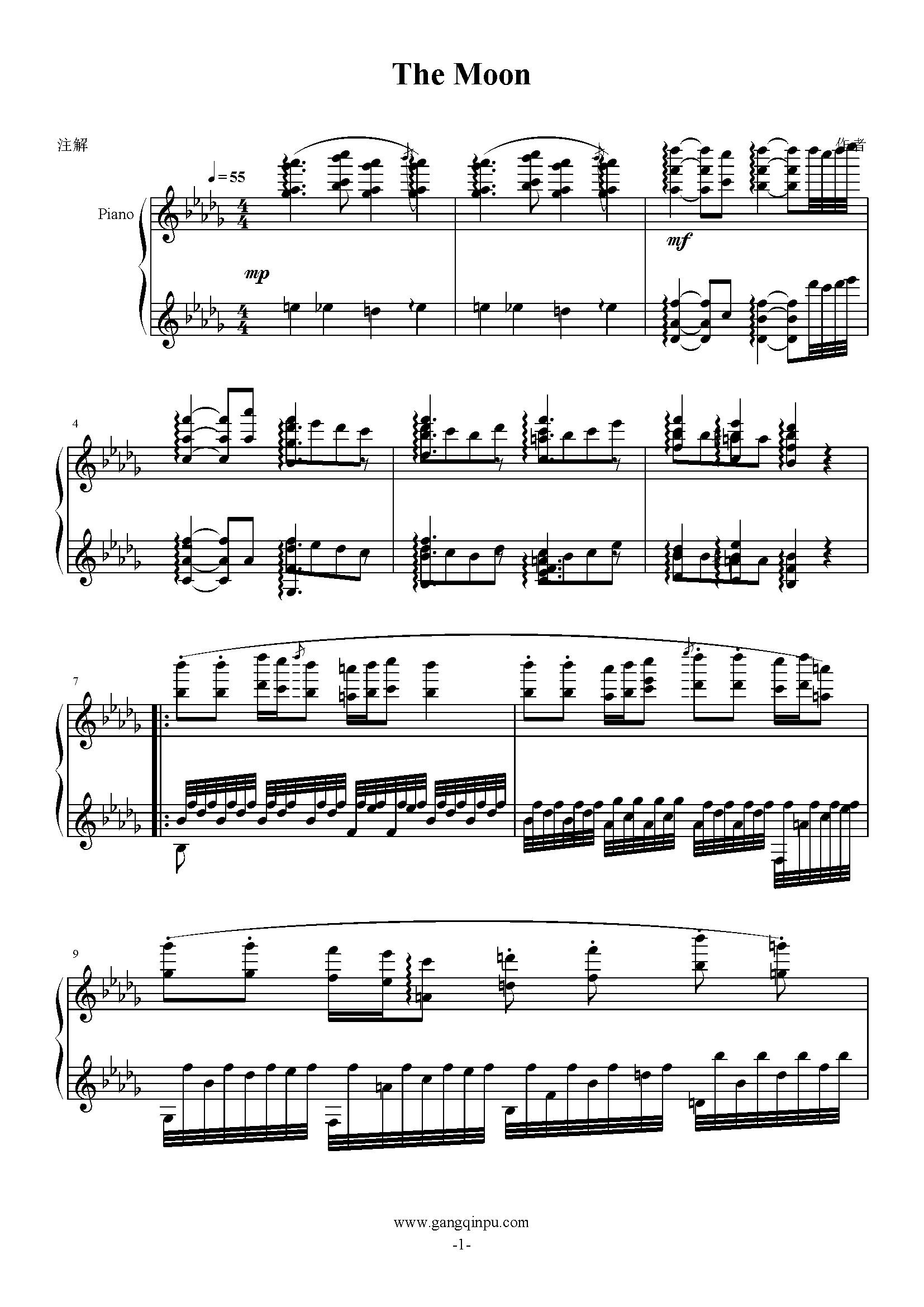 月光曲钢琴谱 第1页