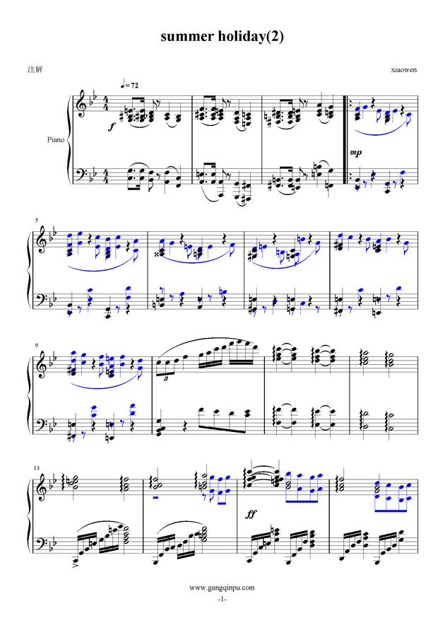 summer holiday 2钢琴谱 第1页