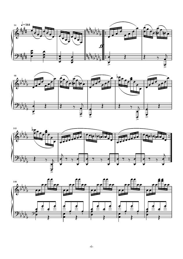 小温狂想曲钢琴谱 第6页