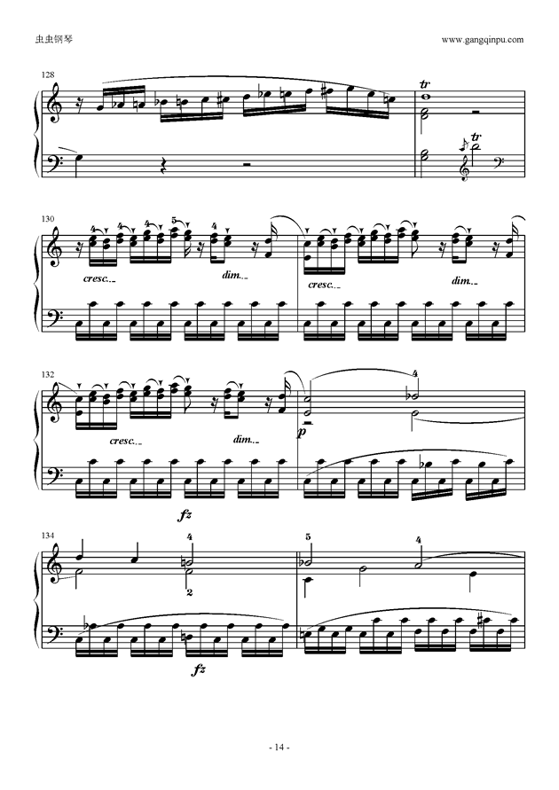 C大调奏鸣曲第一乐章钢琴谱 第14页