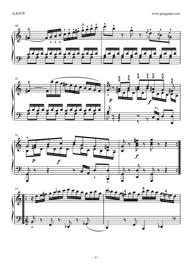 C大调奏鸣曲第一乐章钢琴谱 第6页