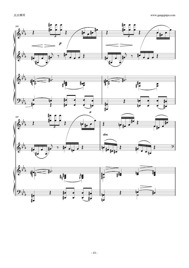 拉赫玛尼诺夫第5钢琴协奏曲钢琴谱 第44页