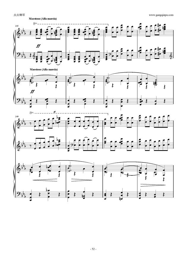 拉赫玛尼诺夫第5钢琴协奏曲钢琴谱 第52页