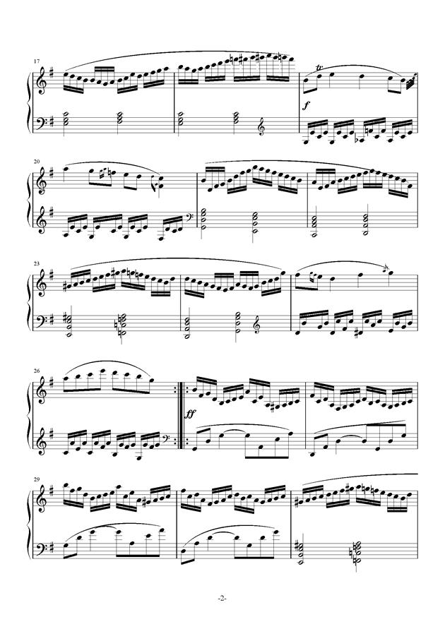 G大调奏鸣曲钢琴谱 第2页