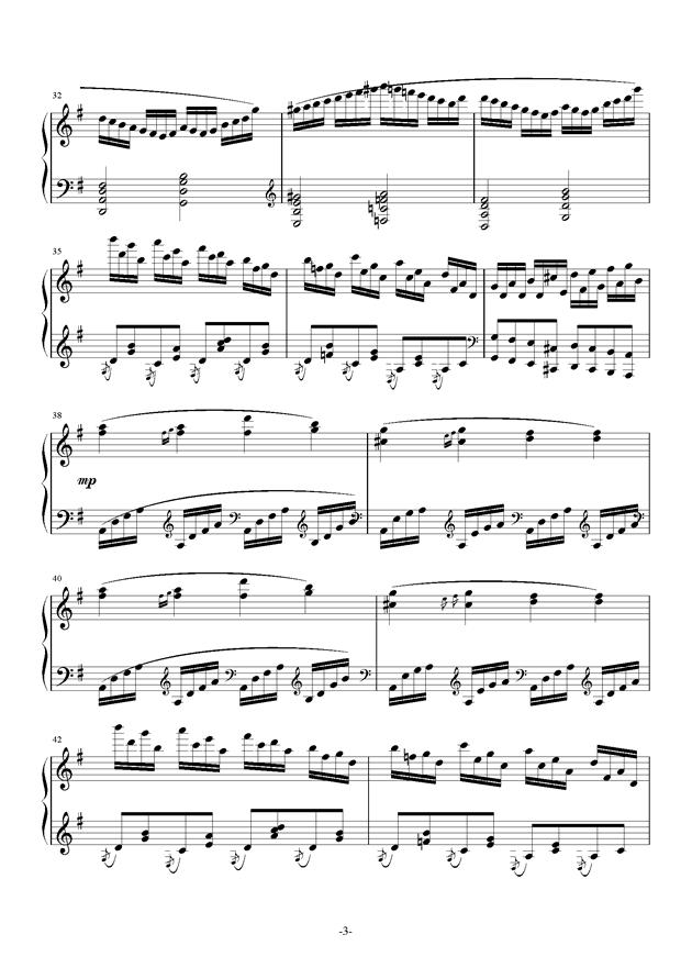 G大调奏鸣曲钢琴谱 第3页
