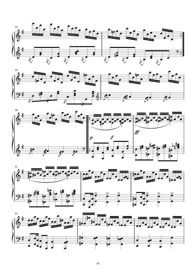 G大调奏鸣曲钢琴谱 第4页