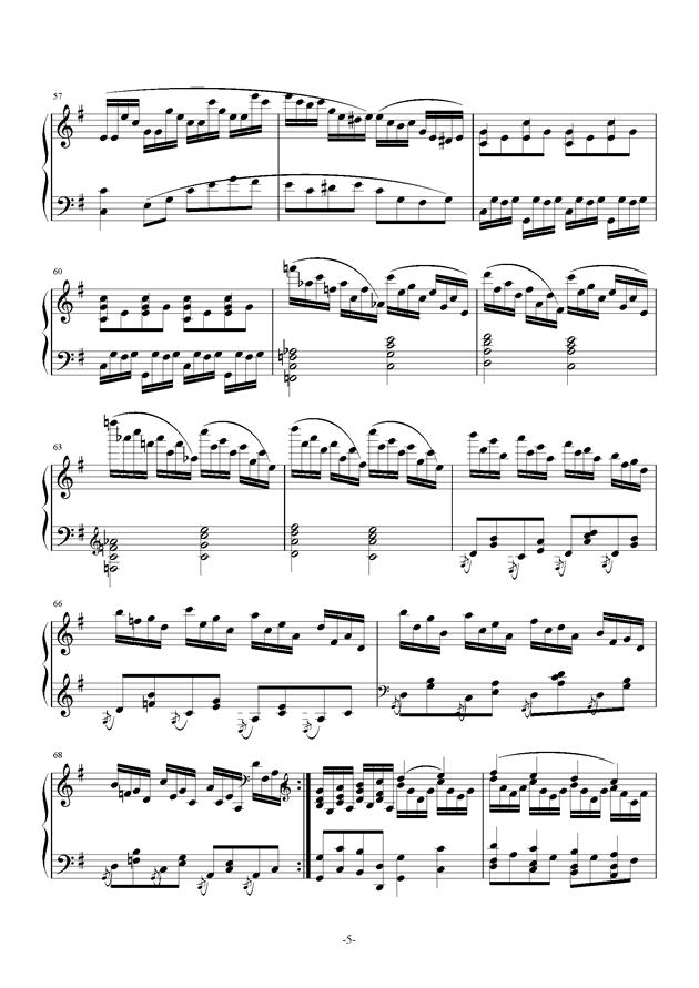 G大调奏鸣曲钢琴谱 第5页