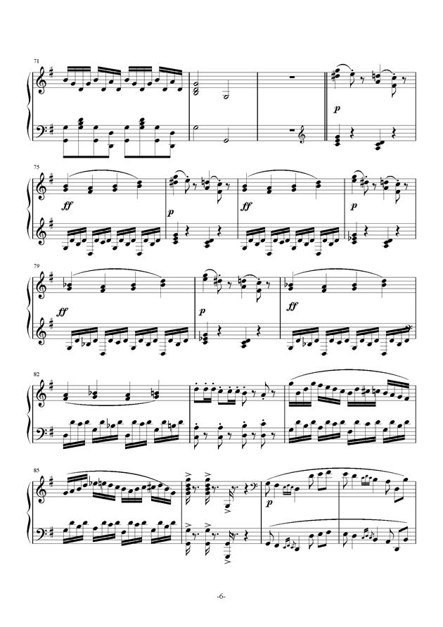 G大调奏鸣曲钢琴谱 第6页