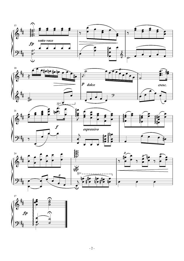 C大调小奏鸣曲 第二乐章钢琴谱 第2页