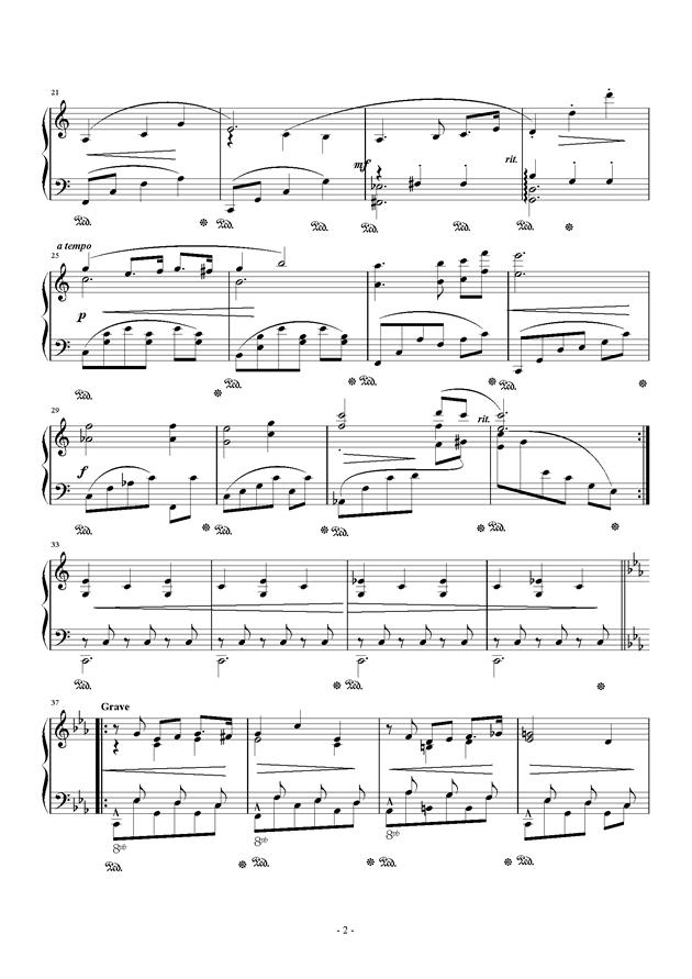 钢琴小品 Op.8 No.1钢琴谱 第2页