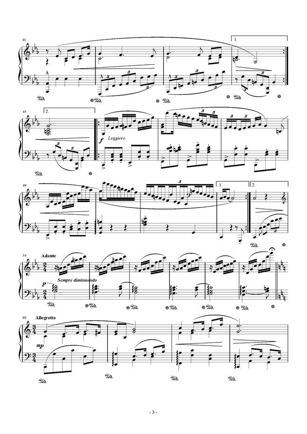 钢琴小品 Op.8 No.1钢琴谱 第3页