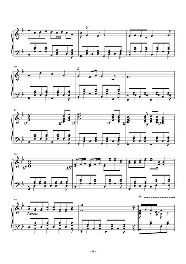在希望的田野上钢琴谱 第4页