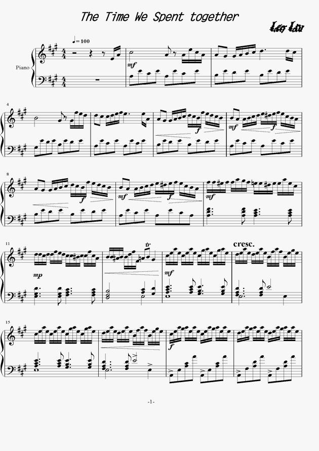 在一起的时光钢琴谱 第1页