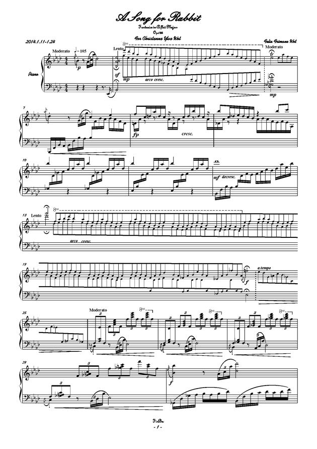 兔子之歌钢琴谱 第1页