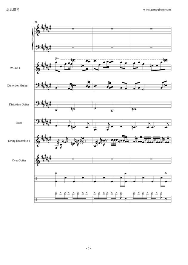 亡灵序曲钢琴谱 第5页
