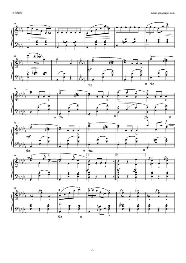降E大调 华丽大圆舞曲 Op.18钢琴谱 第3页