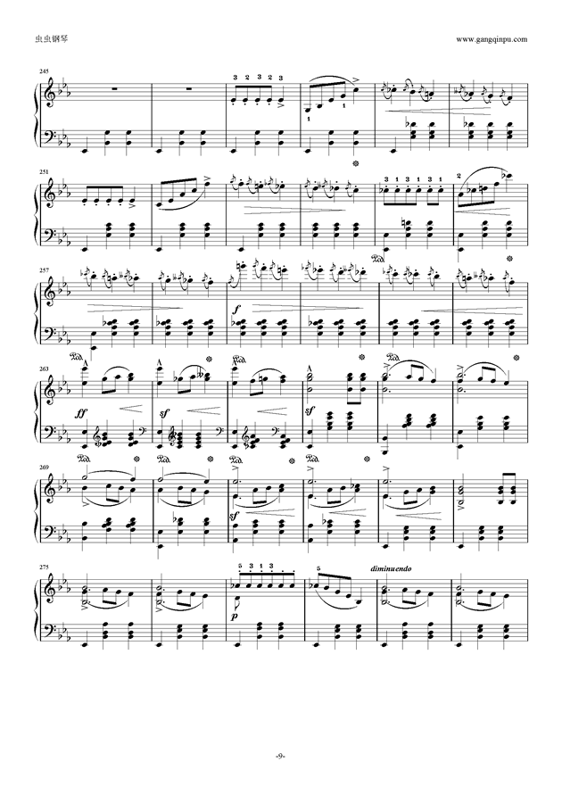 降E大调 华丽大圆舞曲 Op.18钢琴谱 第9页