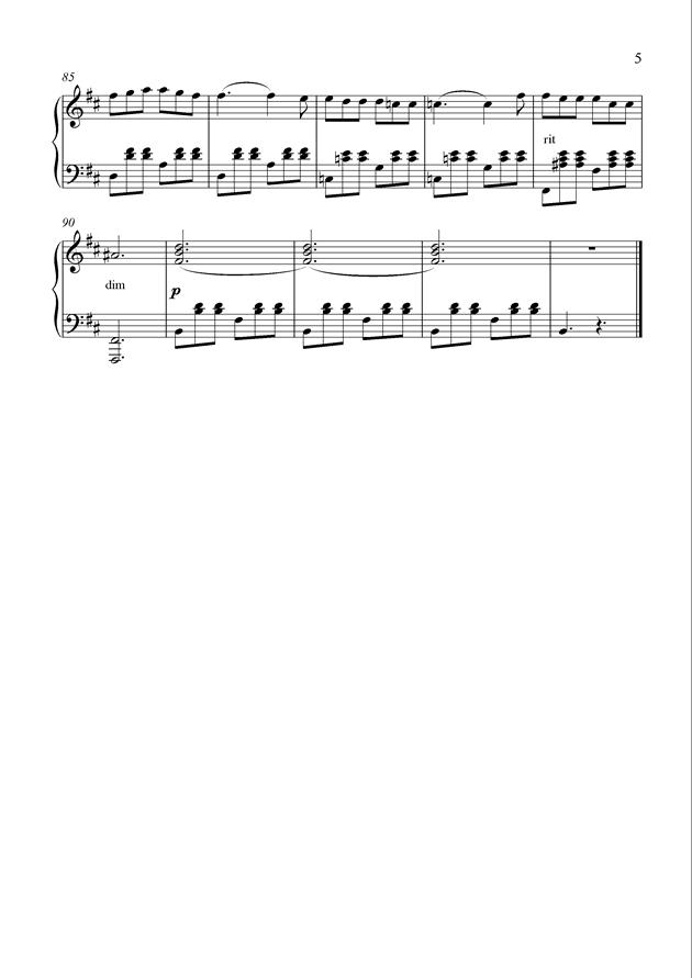 B小调《自由》变奏曲钢琴谱 第5页