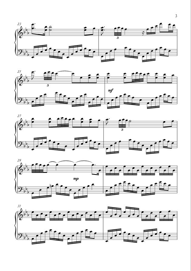 黑暗中的光明钢琴谱 第3页