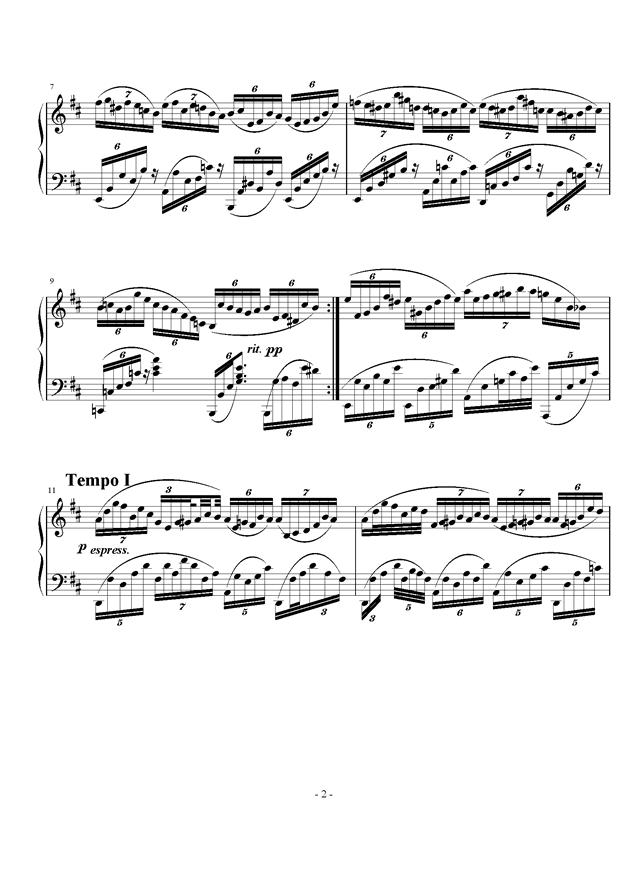 不均等练习曲钢琴谱 第2页