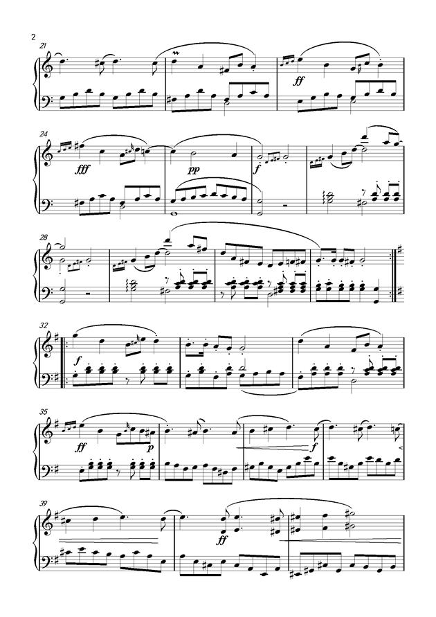 尤里克克小情歌谱子-钢琴谱 小奏鸣曲 主题