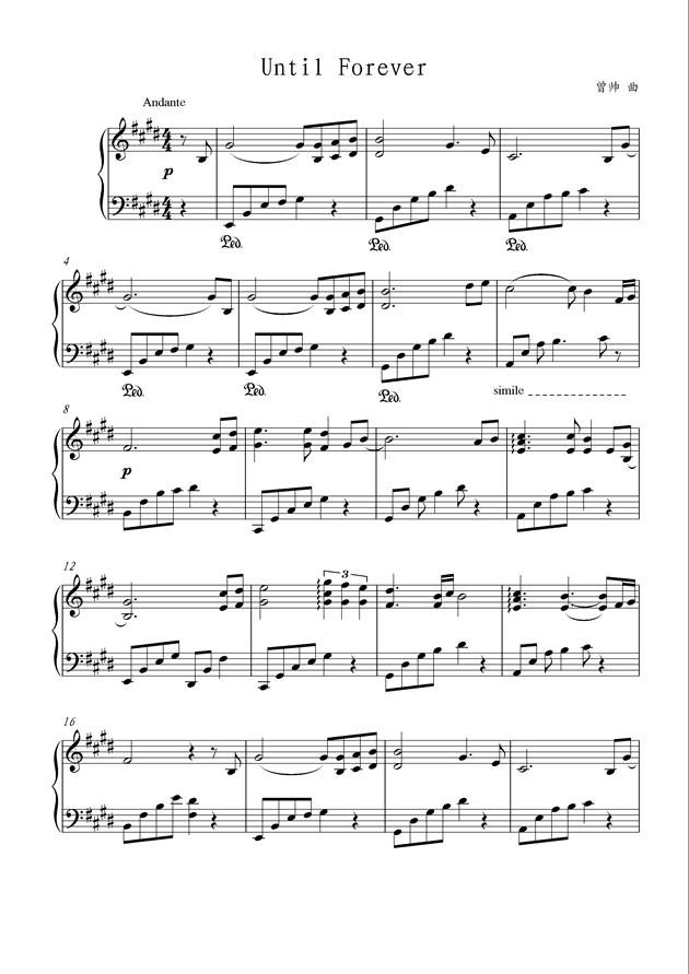 偶练forever钢琴谱