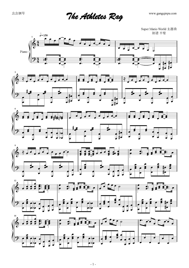 The Athletes Rag钢琴谱 第1页