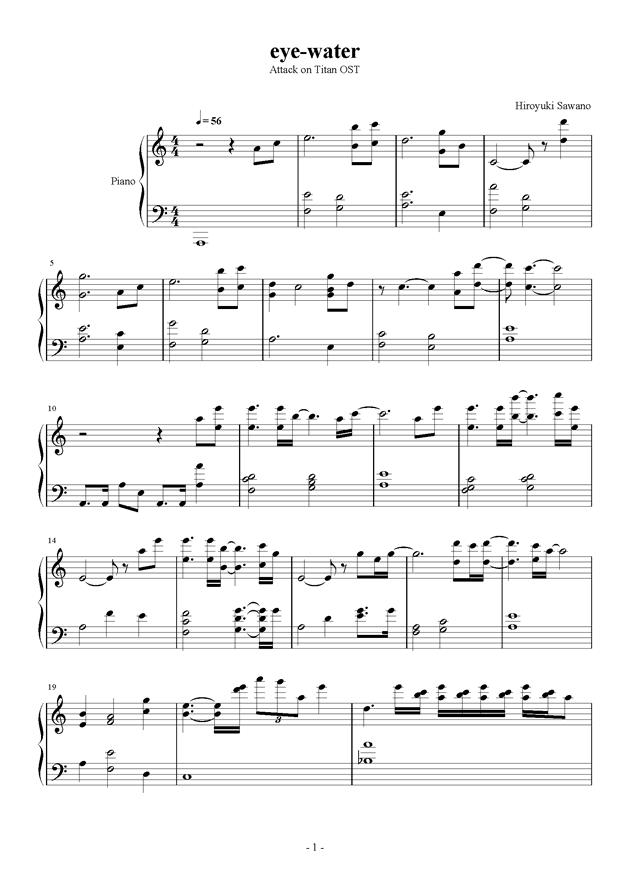 进�牡木奕�(�M�膜尉奕�)(Attack On Titan)- eye-water钢琴谱 第1页