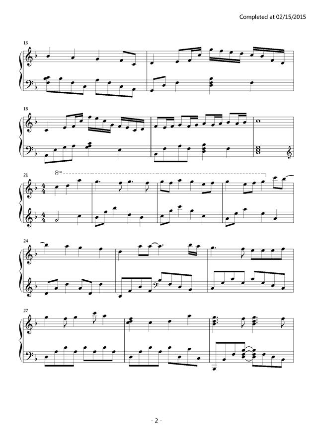カラフル钢琴谱 第2页