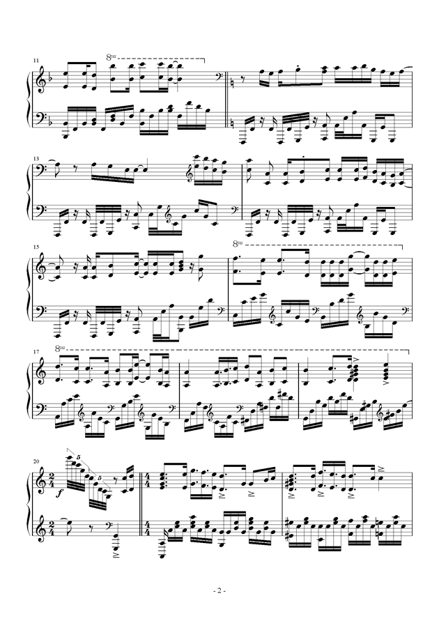 数码宝贝钢琴谱 第2页