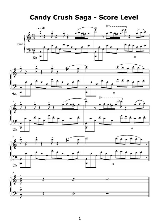 Candy Crush Saga钢琴谱 第1页