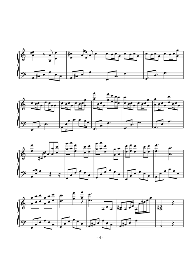 叹云兮钢琴曲谱_叹云兮钢琴简谱