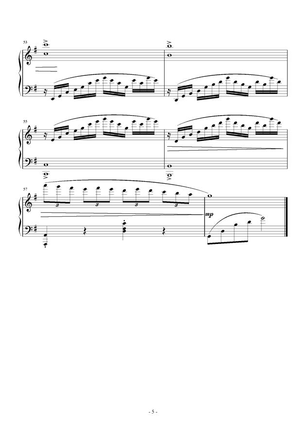 e小调小奏鸣曲 第一乐章钢琴谱 第5页