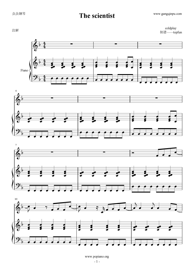 the scientist钢琴谱 第1页