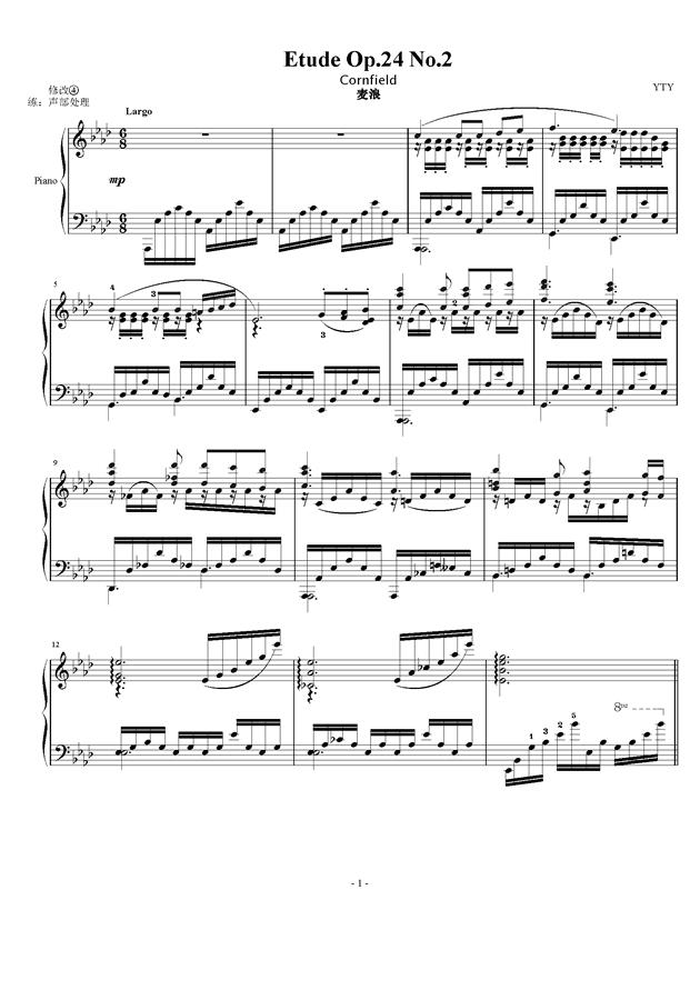 Etude Op.24 No.2钢琴谱 第1页