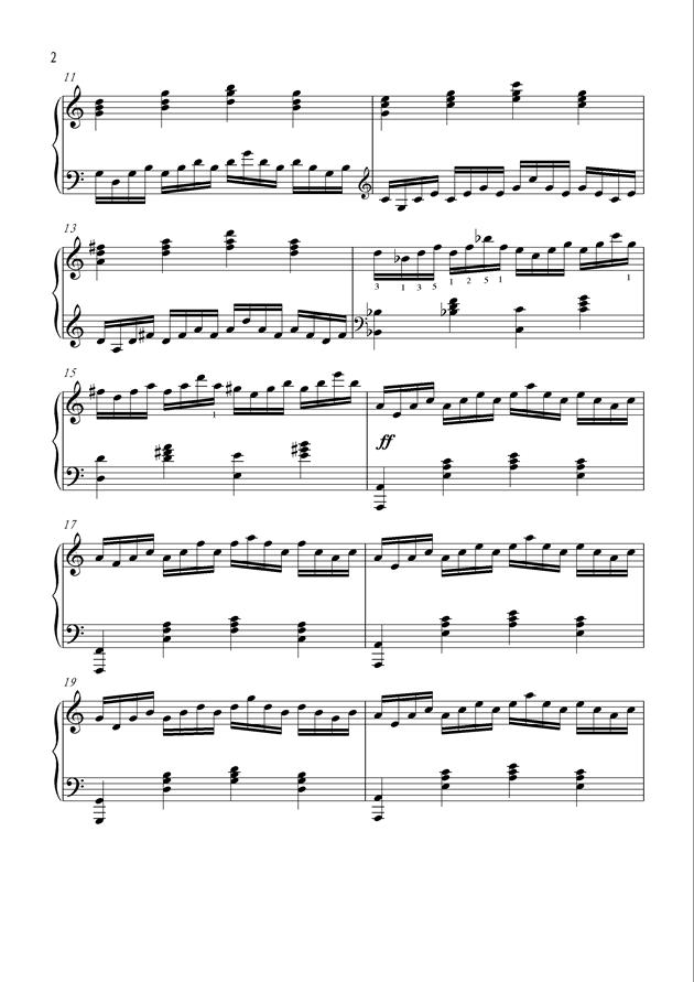 柔情短琶音钢琴谱 第2页