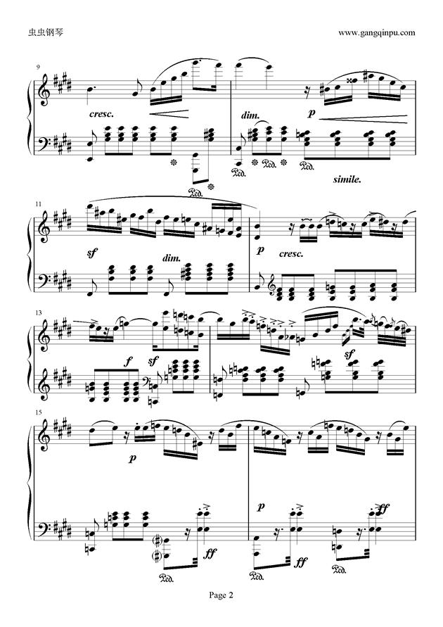 e小调随想回旋曲钢琴谱 第2页