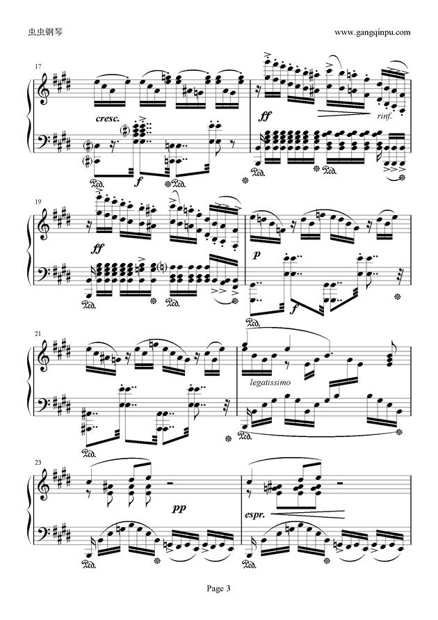 e小调随想回旋曲钢琴谱 第3页